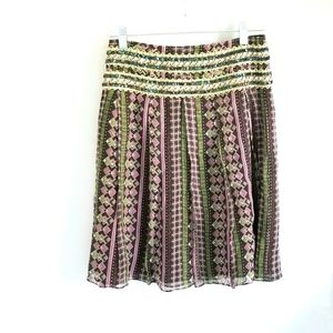 Free People pink, brown, green beaded skirt size 0